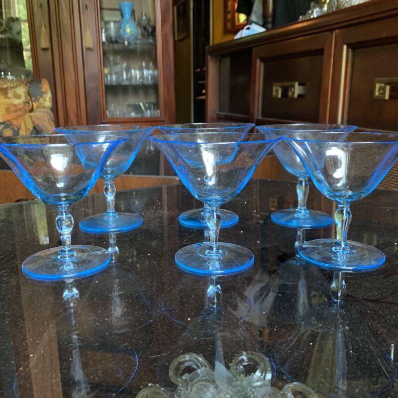 6 Fostoria Fairfax Glass Low Sherbets Azure Blue Optic Depression Glass