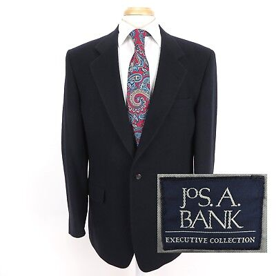 Jos A Bank 41L 100% Camel Hair Navy Blazer Two Button Made In The USA