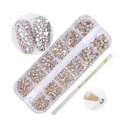 Mixed Size 3D Nail Rhinestones Dotting Pen AB Crystal Nail Art Decoration Kit - Rhinestone Kit