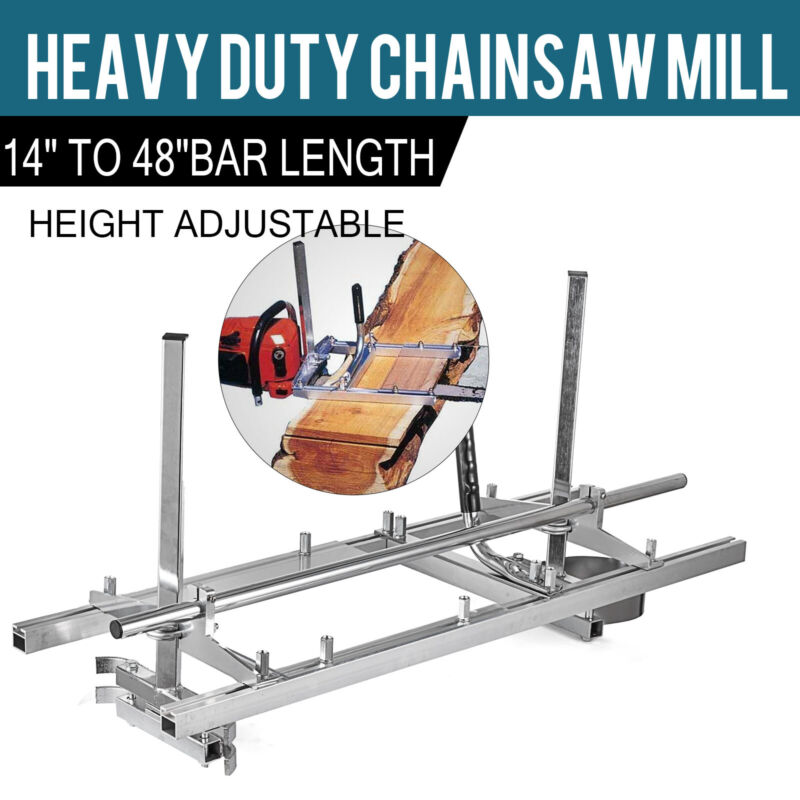 """Portable Chainsaw Mill 14""""-48"""" Chain Saw Mill Aluminum Steel Planking Lumber"""