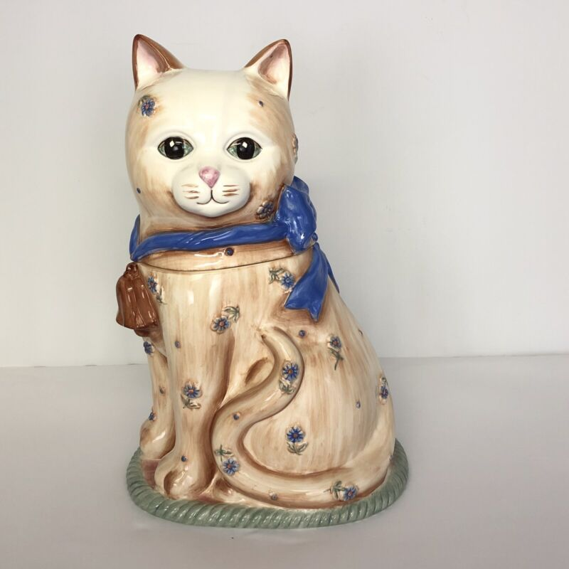 """Gibson Cat Ceramic Cookie Jar Canister Tan Blue Ribbon Bow Flowers 12"""""""