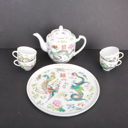 Dragon Ware China Tea Set Teapot 4 Cups Platter