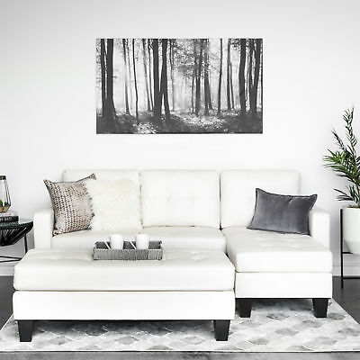 White Tufted Leather Sectional Sofa Couch w/ Chaise Lounge & Ottoman Living (Tufted Leather Sectional Sofa)