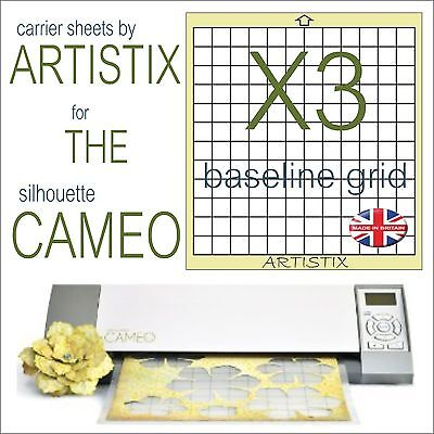 """12""""x12"""" Value cutting mat x3 Pack full grid for Silhouette Cameo Carrier sheets"""