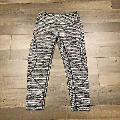 Zella Live In Capri Small S Legging Pant Gray Purple White Stripe Crop