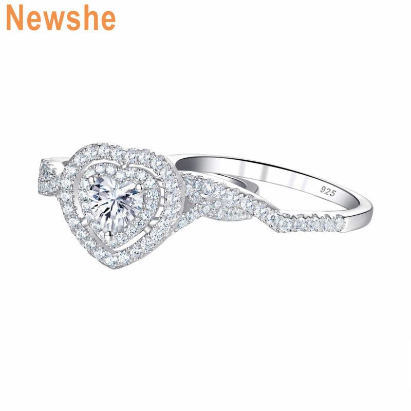 Newshe Engagement Wedding Ring Set For Women Heart Aaaaa Cz 925 Sterling Silver