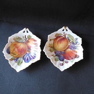 Mitterteich Bavaria Candy Dish Bowl Set Of 2 White W Apples Plums Berries 103, 4 Candy Dish Set
