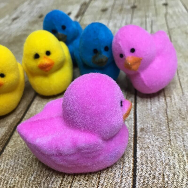 6 Vintage Flocked Plastic Ducks Easter Crafts Decorations Pink Yellow Blue