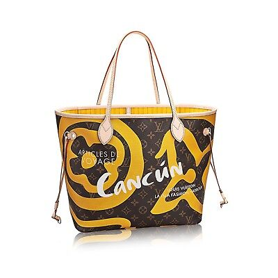 $2500! NEW LOUIS VUITTON CANCUN TAHITIENNE CITIES NEVERFULL MM  YELLOW AUTHENTIC