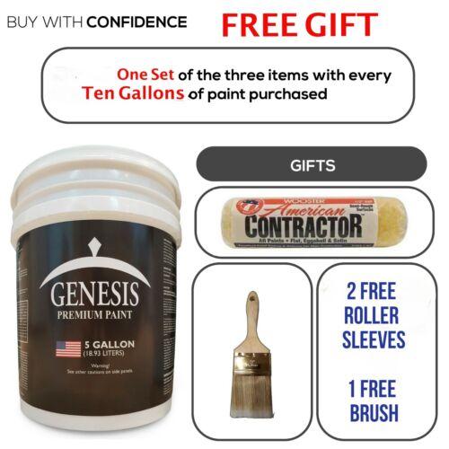 Genesis Premium Paint White Flat Latex EXTERIOR5 GallonFREE SHIP & GIFT OFFER!