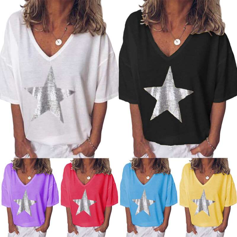 Womens Baggy V Neck Tee T-shirts Short Sleeve Loose Blouse T