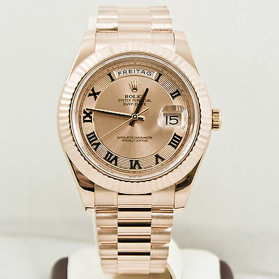Rolex Mens DayDate II 18k Rose Gold Model 218235 Pink Concentric Roman Dial