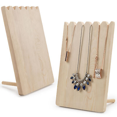Set Of 2 Natural Wood Adjustable-length Necklace Holder Jewelry Display Stand