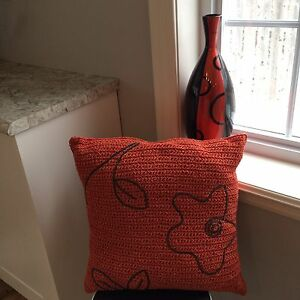 Vase and decorative pillow