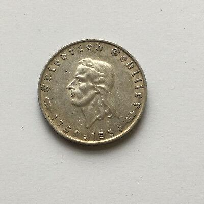2 Reichsmark 1934 F Silber Gedenkmünze Friedrich Schiller