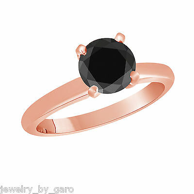14K ROSE GOLD ENHANCED FANCY BLACK DIAMOND SOLITAIRE ENGAGEMENT RING 1.05 CARAT -