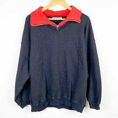 Martin Asbjorn sweater sweatshirt contract 1/4 zip red collar drop shoulder M