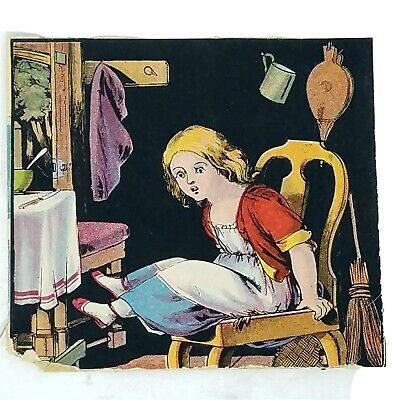 1880s Large Victorian Die Cut Farmhouse Trade Card Girl Table Kitchen Broom
