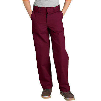 Dickies Boys Burgundy Pants Flat Front Classic Fit School Uniform Sizes 4 to 20