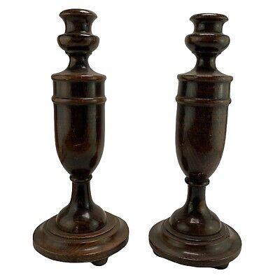 Pair Vintage Turned Wood Chunky Dark Oak Candlesticks