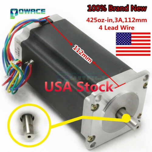 【In USA】 Nema 23 Stepper Motor 425oz-in 112mm 3A 4Wires 8mm Shaft f/ CNC Router