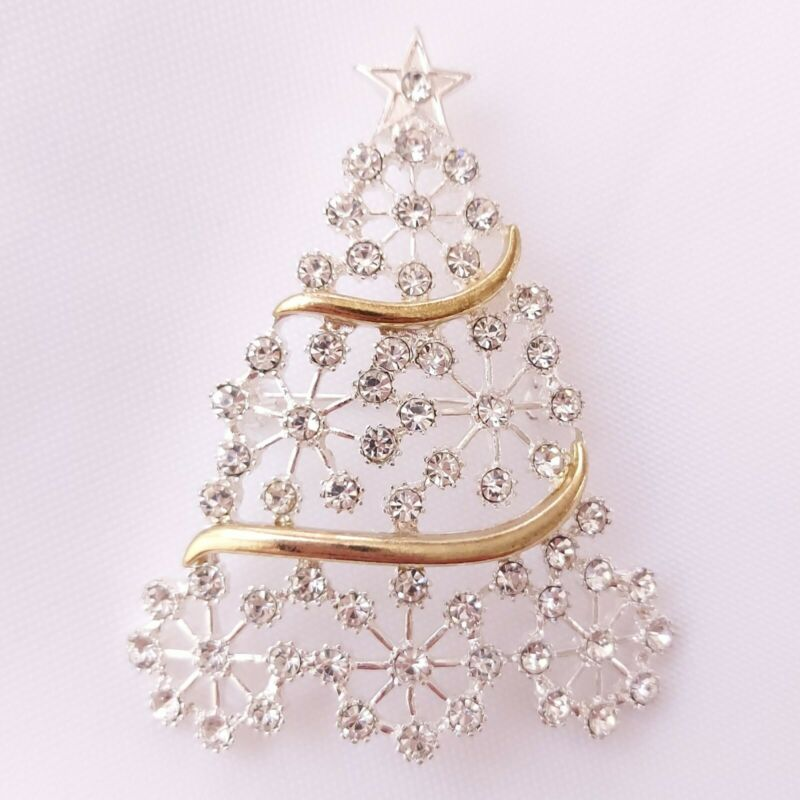 Christmas Tree Brooch Silver & Gold Tone Rhinestones Holiday Seasonal Unsigned