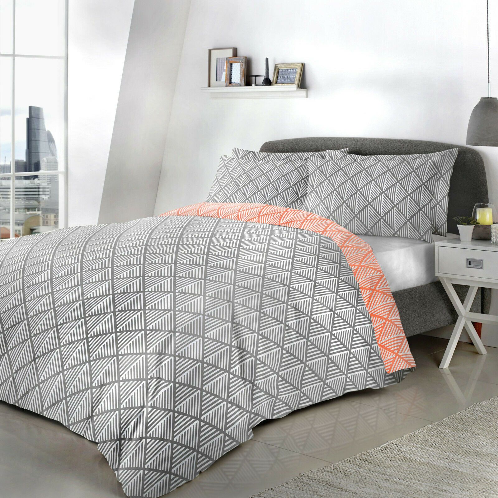 DOUBLE Reversible Easy care Bedding Pink Grey Geometric Duvet Cover