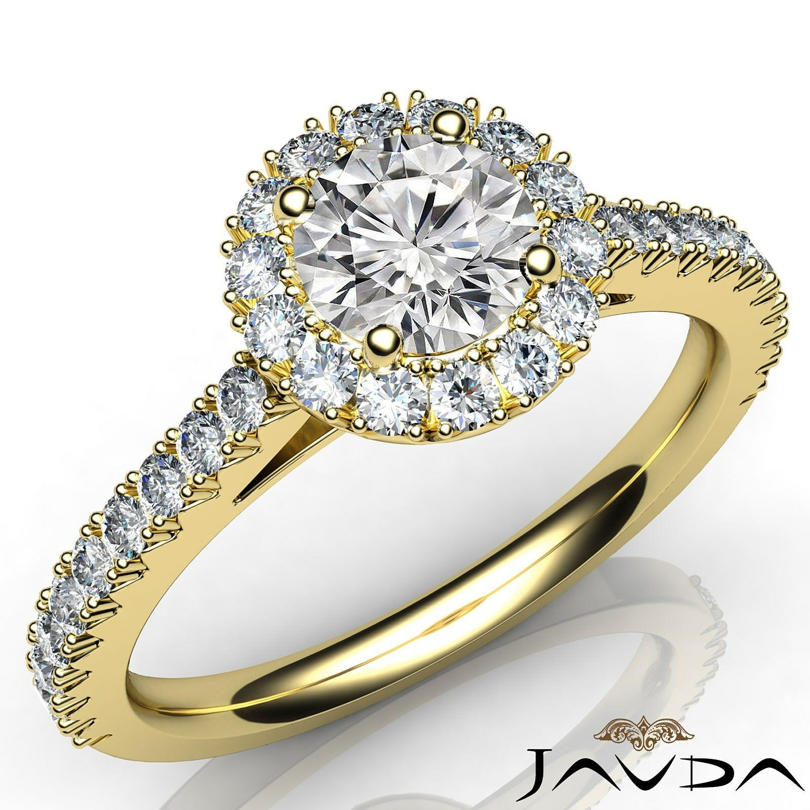 French Cut Pave Set Halo Round Natural Diamond Engagement Ring GIA E VVS1 1.50Ct