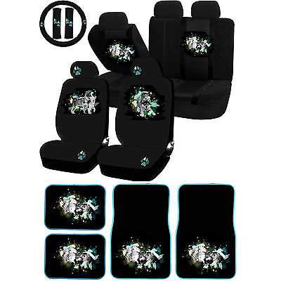 26PC Mom and Pup Wolf Pack Animal Universal Seat Covers Carpet Mats Set Car SUV ()
