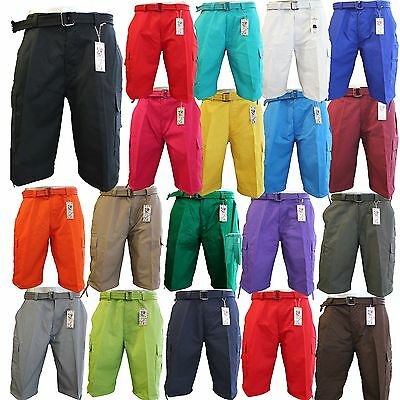 Men's BTL Cargo Shorts With Belt Cotton Twill 18 Colors Size 30~42