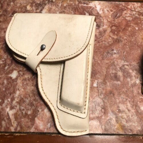 Vintage White Unknown Leather Military Police Holster