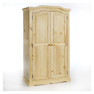 Garderobenschrank Dielenschrank Kleider Kiefer Massiv natur lackiert 2 Türen