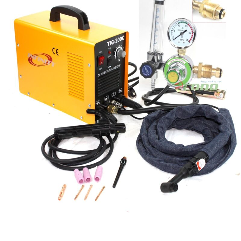 200 AMP DC PULSE TIG ARC MMA INVERTER WELDING WELDER MACHINE W/ARGON REGULATOR