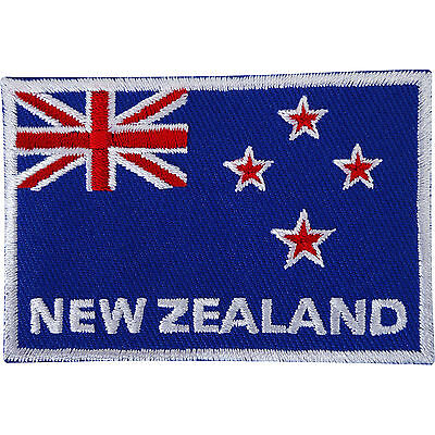 New Zealand Flag Embroidered Iron / Sew On Patch Rugby T Shirt Embroidery Badge
