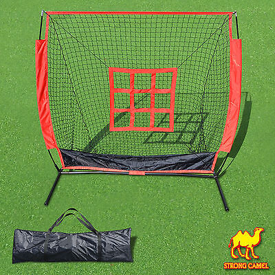 5'x5' Baseball Softball Practice Net Pitching w Strike Zone Target and Carry Bag