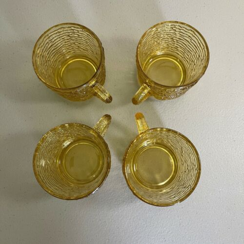 Vintage Set of 4 Anchor Hocking Soreno Bark Amber Cups With Handle