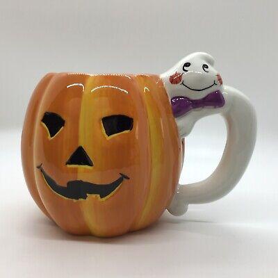 Ceramic Halloween Pumpkin Mug With Ghost Handle