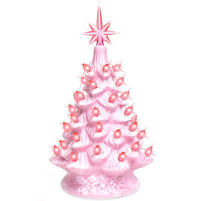 BCP 11in Pre-Lit Hand-Painted Ceramic Tabletop Christmas Tree w/ Lights ()