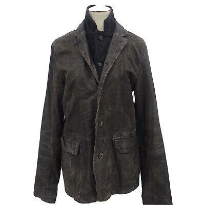 AllSaints Mens Size Medium Survey Leather Jacket Blazer Brown Distressed