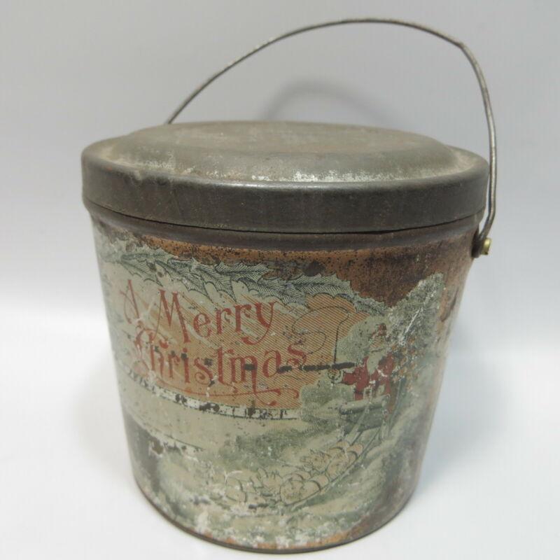 Antique Vtg Merry Christmas Lard Pail Santa & Pigs Small Metal Bucket