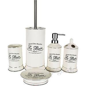 5 piece le bain shabby chic ceramic white bathroom for Accessori bagno le bain