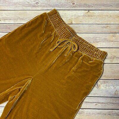 Elodie Women's Mustard Yellow Velvet Pants Sz Medium Elastic Waist Straight Leg
