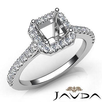Asscher Diamond Engagement 14k White Gold Semi Mount Prong Setting Ring 0.5Ct
