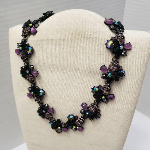 Betsey Johnson Blackout Flower Skull STATEMENT Necklace Purple Metallic NEW