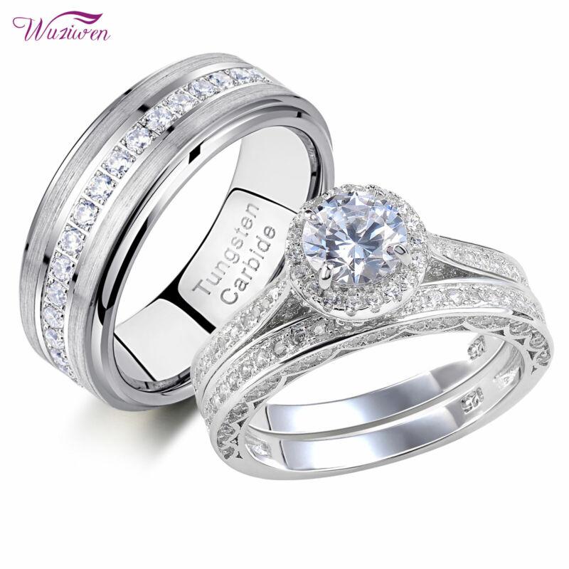 Wuziwen Wedding Engagement Ring Set For Him Her Women Men Tungsten Bands Aaaa Cz