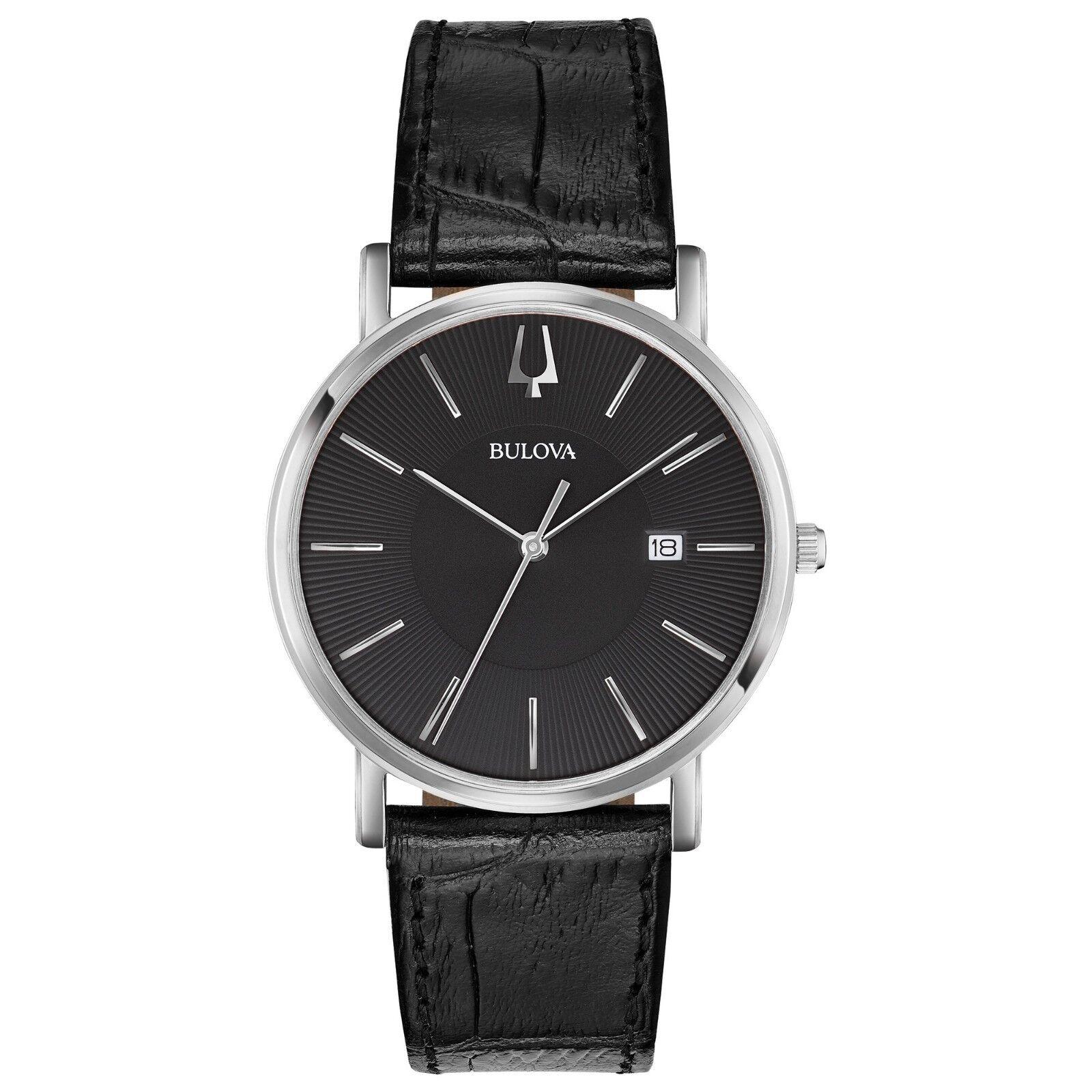 Bulova Classic Men's Quartz Silver Tone Black Leather Band 37mm Watch 96B283