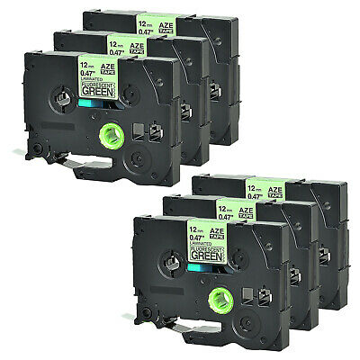 6 Pk Label Tape Black On Fluo Green 12 For Brother P-touch Tz Tze-d31 Pt1010b