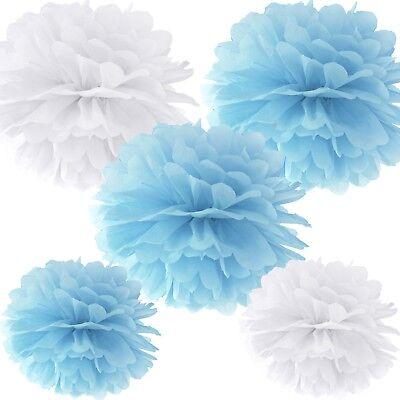 - hellblau & weiß Dekoration Geburtstag Hochzeit Taufe Party (Blau Pom-pom)