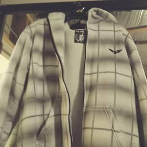 White hooded jumper