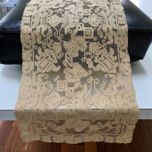 "~PRISTINE~Antique 42""x13½"" Italian Lace Tablecloth Table Runner Handmade Natural"